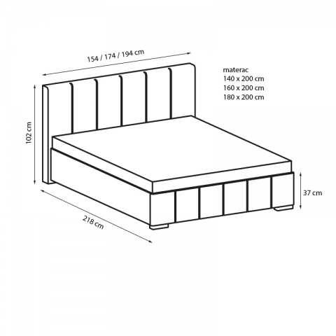 wymiary łóżka AFRODYTA