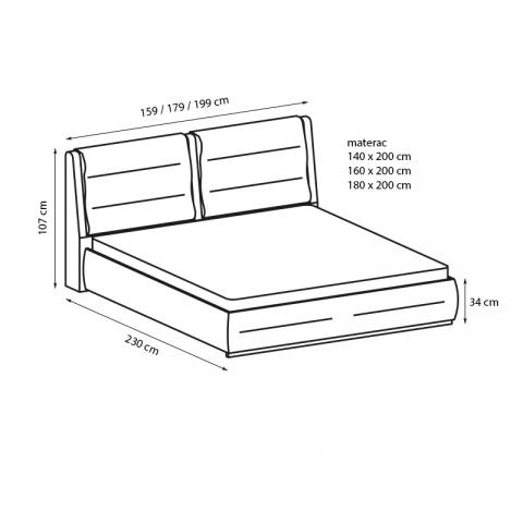 wymiary łóżka Apollo Relax